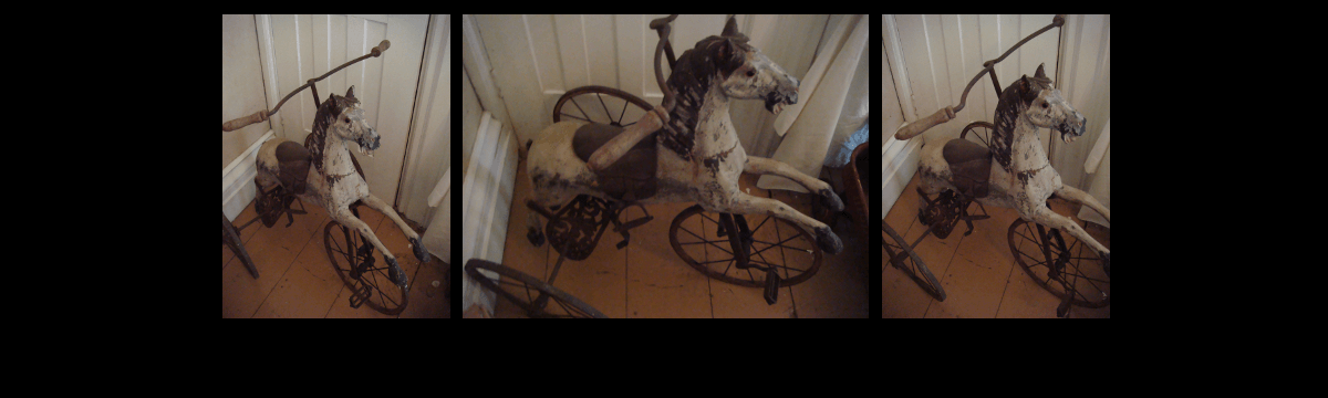 Antique Child's Toy Carved Horse Velocipede